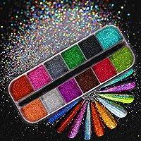 ネイルアート装飾用ホログラフィックネイルスパンコール釘アートディッピングシマーブリッティングカラフルな顔料グリッター12グリッド liuqiang (Color : 12)