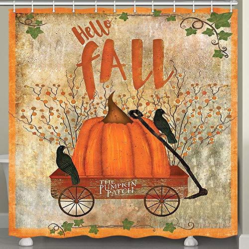JAWO Fall Shower Curtain for Bathroom, Rustic Vintage Farmhouse Decor Pumpkin Patch in Red Wooden Cart Against Broken Wall Harvest Season Bathroom Curtain, Fabric Bath Decor Set with Hooks