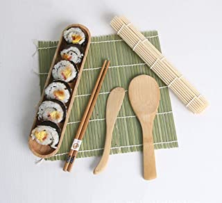 Hoocozi Green white skin natural bamboo sushi making kit kitchen sushi tool curtain bamboo chopsticks/sushi knife/sushi spoon/sushi plate | 100% Bamboo Mats and Utensils£¨6 Piece Set£