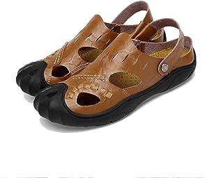9887e9da6777d7 FFTX Hommes Sandales Cuir Bout Ouvert Respirant Chaussures de Plage  Antidérapant Fond Mou À l'