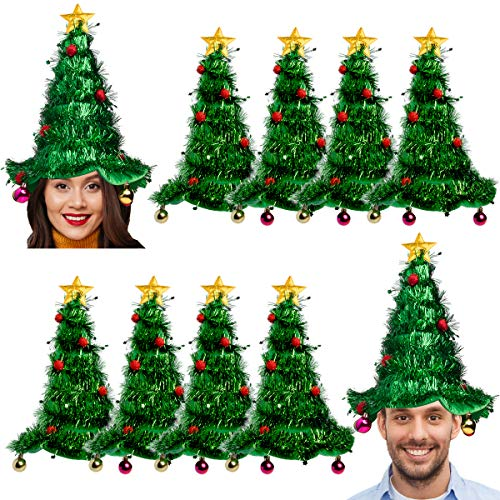 Simply Genius, 10 Pack, Christmas Tree Hat Set: Christmas Hat for Party Supplies, Christmas Costumes For Adults and Kids