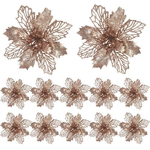 FUNNY HOUSE Christbaumschmuck Glitter Poinsettia 12 Stücke Weihnachtsschmuck Baumschmuck Künstliche Weihnachtsblumen Deko für Weihnachtsbaum Weihnachtskranz Ornamente (Champagner)