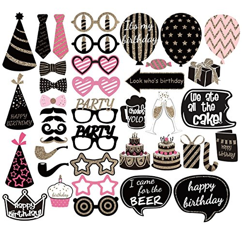LECMARK 41PCS New Funny Photo Booth Props On A Stick Mustache Lip Hat DIY Kit Dress-up Accessories Perfect for Party Fun Wedding Reunions Birthday Christmas Favor Photobooth Party Decoration Supplies