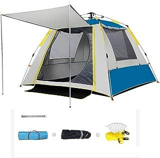 自動ポップアップテント、4マンテント防水ファミリートンネルテント広い共同エリア、ホワイエアンチUV防水