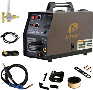 140 Amp MIG Wire Welder, Flux Core & Aluminum Gas Shielded Welding with 2T/4T Switch Argon Regulator, Metal Wire Feeder