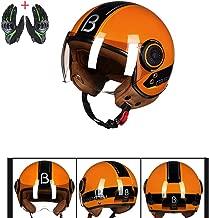 Retro Motorcycle Crash Helmet 3/4 Open Face Cafe Racer Custom Light Weight Half Helmet Four Seasons Breathable Comfortable DOT Approval,L