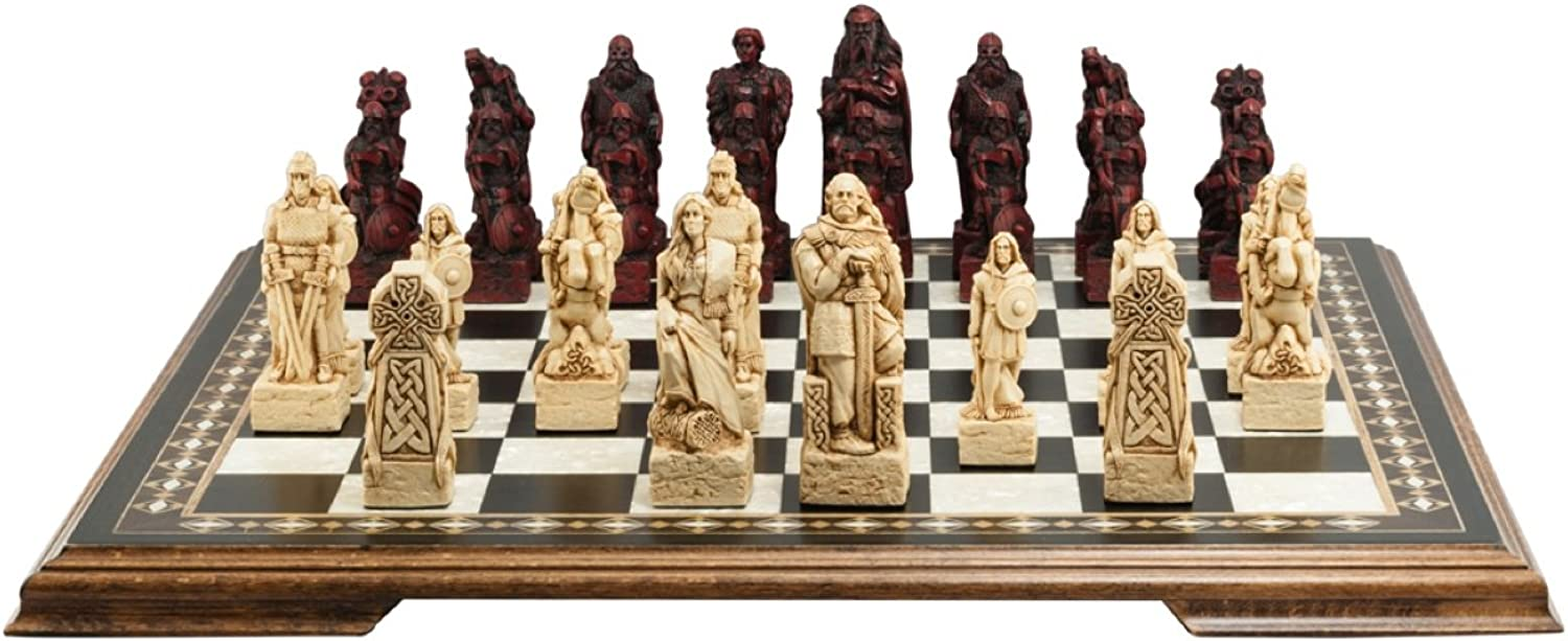 Studio Anne Carlton Celtic and Viking Themed Chess Chess Chess Set  4.5 Inches  In Presentation Box  Handmade in UK  Ivory and Burgundy b828d2