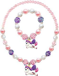 e4e70dad6 Litter Unicorn Pendant Chunky Bubblegum Necklace Bracelet Set Girls Gift