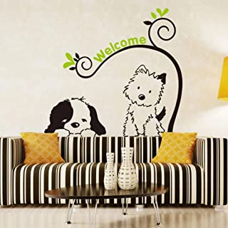 Cute Cartoon Dog Animals Wall Sticker Removable Art Vinyl Decals for Kids Room Home Decor Background Decoration Stickers