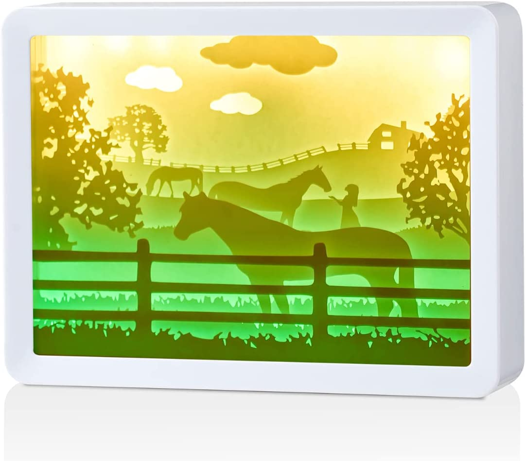Horse Gifts for Girls Women Boy Teenage Horse Lovers, Papercut Light Box, LED Shadow Box Horse Light Lamp, USB Cable Included, Horse Themed Nightlight Home Room Decor - Horse Meadow