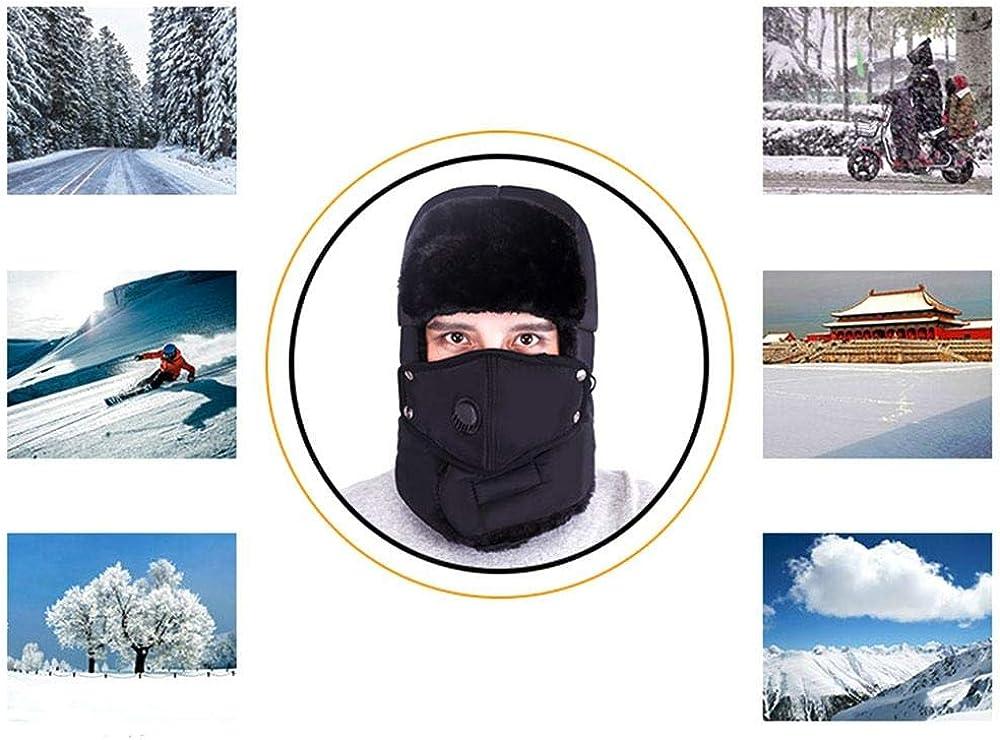 Wijider Uschanka Russische M/ütze M/änner Winter Warme Earflap H/üte Cap Schal Frauen Hut Trooper Snow Outdoor Ski Hut Mit Fack Mask Schutz Winddicht Bomber H/üte