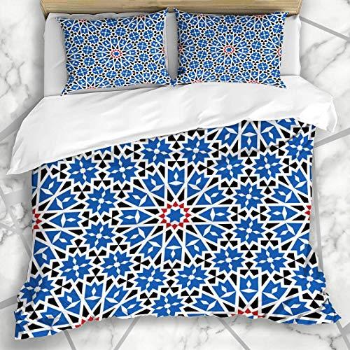 HARXISE Bettwäsche - Bettwäscheset Muster-arabische Emirate Granadas Marokkaner Marokko arabische geometrische abstrakte Alhambra Antique Ethnic Mikrofaser weich dreiteilig160*220