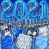 Blue Graduation Party Decoration 2021 Banner Balloons Fringe Curtain Mylar Star Foil and Confetti Latex Balloon Congrats Grad Supplies