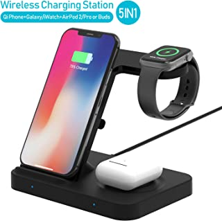 Winktech 5 in 1 Wireless Charger for Airpods, Fast Charging Dock Station for Apple Watch Series 5/4/3/2/1, iWatch, Wireless Charge Stand for iPhone 11/pro/MAX/XR/XS/X/8Plus/8, Samsung phone/watch/buds