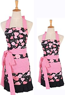 Pink Morning Glory Pattern Double Layer 100% Cotton Garden Aprons Cute Chef Bib Women and Kid Girl Cooking Kitchen or Backing Apron with One Practical Front Pocket (Mom-Child Set)