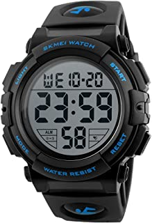 CakCity Men's Sports Watches Military Classic Stopwatch Large Dial Electronic LED Backlight Wristwatch 50M Waterproof Digi...