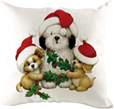 Unionm 19# Pillow Covers Christmas Decor Throw Pillow Case Linen Santa Claus Cat Dog Merry Christmas Theme Printed Square 45 x 45 cm 18 x 18 inch Cushion Cover for Home Sofa Car 1 Pack