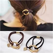 Lovef 5Pcs Fashion Gold Plating Metal Cuff Band Ponytail Tie Hair Cuff Elastic Wrap Hair Rope Hair Ring