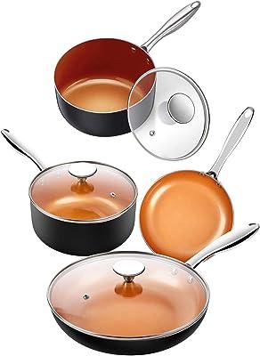 MICHELANGELO 5 Piece Copper Pots and Pans Set + 2 Quart Saucepan with Lid, Nonstick Copper Cookware Set with Ceramic Titanium Coating, Ceramic Cookware Set, OVEN Safe