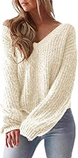 Women V Neck Knit Long Sleeve Sweater Off Shoulder Pullover Jumper Tops