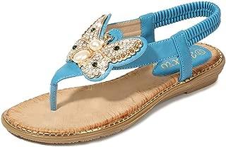 Super bang Bohemian Flat Sandals Flip Flops Beach T Strap Thong Shoes for Women