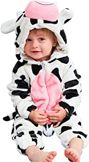Unisex Baby Animal Costume Winter Autumn Flannel Hooded Romper Cosplay Jumpsuit