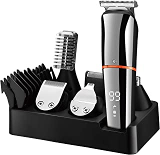 اصلاح کننده Surker Beard for Men Clippers Hair Mustache Nose Hair Groomer Cordless Precision Trimmer 6 in 1 Grooming Kit ضد آب USB قابل شارژ