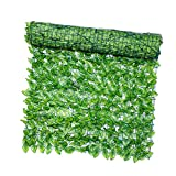 POHOVE Clôture de lierre artificiel - 3 x 0,5 m - Haie artificielle - Clôture d'intimité - Clôture à grandes feuilles - Fausses feuilles - Décoration pour jardin extérieur