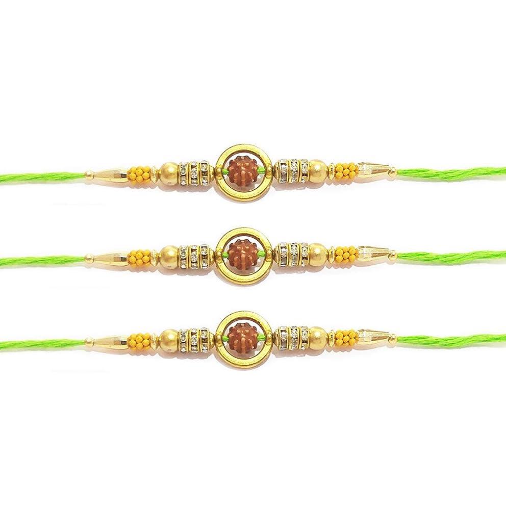 WhopperIndia Set of 3 Single Rudraksha and Beads Traditional Rakshabandhan Rakhee Bracelet Color and Design May Vary