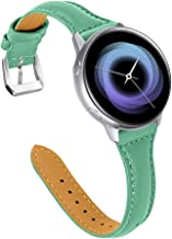 Joyozy Leather Band Compatible with Galaxy Watch Active(40mm)/2(40mm) (44mm), Teal Leather Band 20mm Slim Leather Wristban...