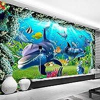 水中世界3Dイルカカスタム写真壁紙壁画子供部屋寝室リビングルームテレビ背景壁装飾壁画, 250cm×175cm