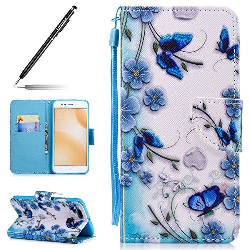 Uposao Kompatibel mit Xiaomi 5X/Xiaomi Mi A1 Tasche Leder Flip Hülle Ledertasche Handyhülle Handytasche Schutzhülle Bookstyle Klapphülle Kartenfach Magnetverschluss,Blau Blumen Schmetterling