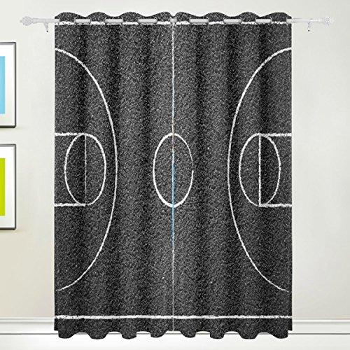 COOSUN Street Basketball Cour Rideaux occultants avec œillets en Haut Isolation Thermique Store Enrouleur occultant Rideaux pour Le Salon, la Chambre à Coucher, 55 W X 84L Pouce, 2 Panneaux