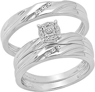 Dazzlingrock Collection 0.13 Carat (ctw) Round White Diamond Men & Women's Engagement Ring Trio Bridal Set, Sterling Silver