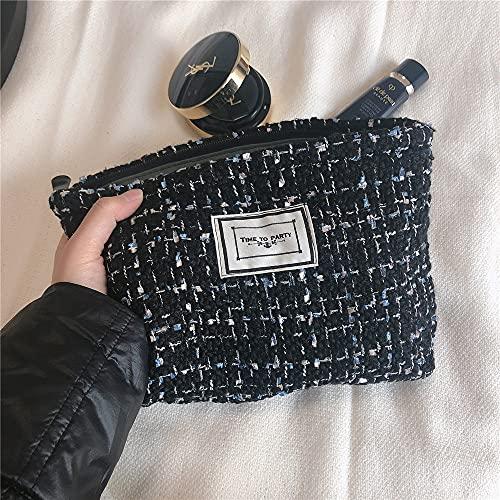 SYXX Caja de almacenaje Bolsa de Maquillaje Organizador Plaid Cosmética Bolsa Grandes Mujeres Viajes Localización Bolso Necesserie Cremallera Caja de Belleza Almacenamiento Cosmético (Color : Negro)