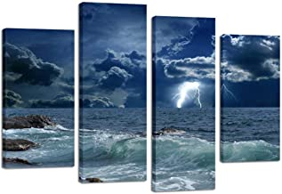 Kreative Arts 4 Panels Large Seascape Lightning on Storm Ocean Picture Print on Canvas Art Prints Giclee Art Work for Home Office Decoration Wild Winds and Huge Waves Sea Wave Wall Art Decor