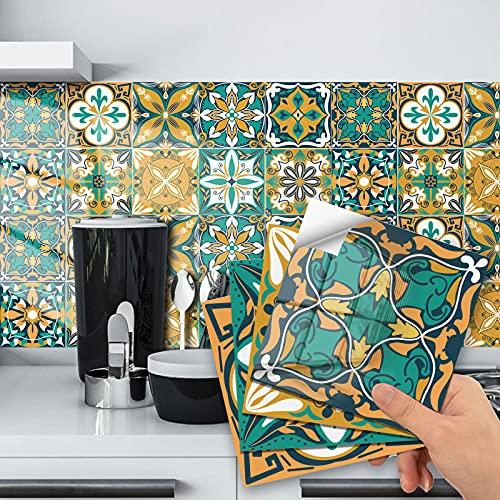 Adhesivos para azulejos de baño de 10 x 10 cm, adhesivos de PVC para decoración de azulejos de vinilo para baño y cocina (15 x 15 cm)