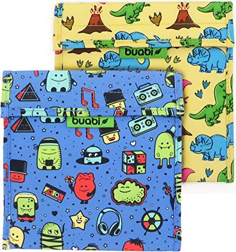Bolsa merienda Infantil 19x19 cm - Porta Bocadillos y Sandwich - Envoltorio térmico Tela y Aluminio, ecológico, Reutilizable, sin BPA (Dinosaurios y Monstruos)