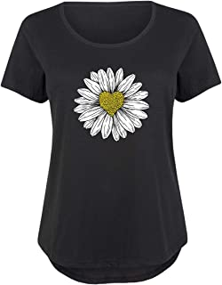 c1de387eaca99 Daisy Heart Drawing - Ladies Plus Size Scoop Neck Tee