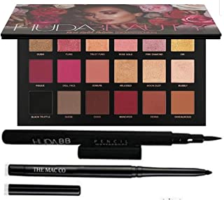 Huda bb combo rose gold eyeshadow palette remastered (18 Shades) with sketch eyeliner and kajal