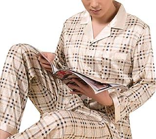 Sodossny-JP メンズ贅沢サテンシルクロングスリーブ枕印刷ラペルパジャマセット