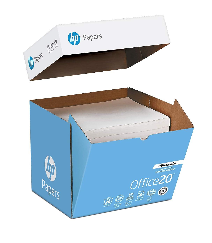 HP Printer Paper, Office20 Paper, 8.5 x 11 Paper, Letter Size, 20lb Paper, 92 Bright, 1 Quickpack Case / 2,500 Sheets (112103C) - NO REAM WRAP