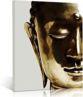 TONZOM Canvas Wall Art Wall Art Stretched Frame Ready To Hang One piece Picture Print Modern Home Decoration (Golden Zen Buddha Statue ,12x16inch