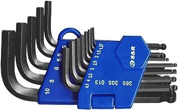 S&R Innensechskantschlüssel Satz HX mit Kugelkopf, 13-tlg, 1,27 bis 10 mm in Kunststoffclip