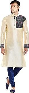Lakkar Haveli Men's Silk Kurta Embroidered Shirt Casual Cream Color Tunic Plus Size