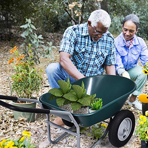 Goplus Dual Wheel Wheelbarrow, Heavy Duty Garden Cart, 330 lbs Capacity Utility Cart with Two 13 inches Pneumatic Tires for Outdoor Lawn Yard Farm Ranch