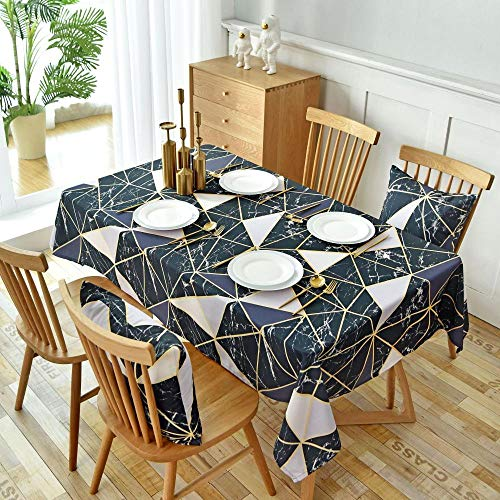 JUZSZB Tischdecke Abwaschbar,Wandfliese Schwarz Geometrisch Tischdecke Abdeckung Handtuch Rechteck Haushalt Druck Tischdecke,Schwarz,135 * 135Cm