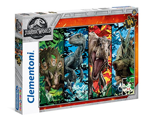 Clementoni 27099 Jurassic World-Juego de Mesa (104 Piezas), Multicolor