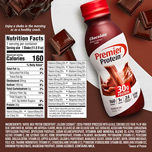 Premier Protein Shake, Nutrients to Support Immune Health, Chocolate, 11.5 Fl Oz (Pack of 12)