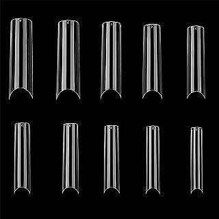 Square Nail Tips C Curve 500PCS 10 Sizes Extra Long Clear Acrylic Fake Nail Tips Half Cover